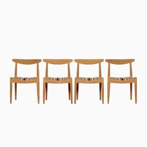 Chaises de Salle à Manger Modèle W1 en Chêne par Hans J. Wegner pour C.M. Madsen, 1950s, Set de 4