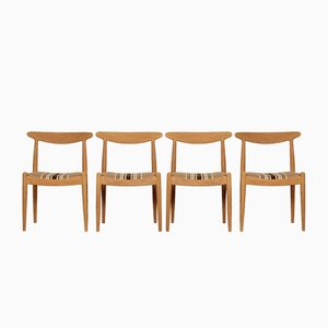 Oak Model W1 Dining Chairs by Hans J. Wegner for C.M. Madsen, 1950s, Set of 4
