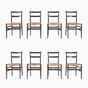 Chaises de Salle à Manger Superleggera Vintage par Gio Ponti pour Cassina, Set de 8
