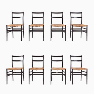 Vintage Superleggera Dining Chairs by Gio Ponti for Cassina, Set of 8
