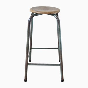 Mid-Century Industrial Green Stool