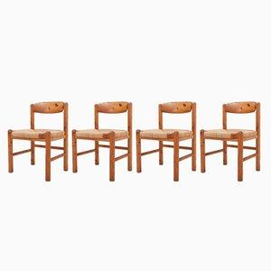 Esszimmerstühle aus massivem Kiefernholz von Rainer Daumiller, 1970er, 4er Set