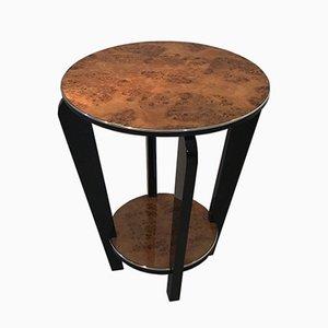 Mesa auxiliar Art Déco de madera nudosa, años 20