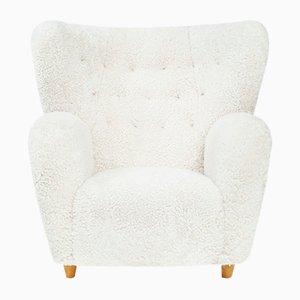 Sheepskin & Beech Lounge Chair by Marta Blomstedt, 1939