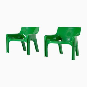 Grüne Vicario Sessel von Vico Magistretti für Artemide, 1970er, 2er Set