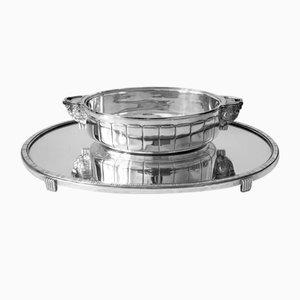 Art Deco Jardinière Set aus Silber & Spiegelglas