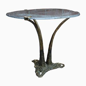 Organic Brutalist Tripod Dining or Bistro Table in Bronze & Ice Glass by Lothar Klute, 1984