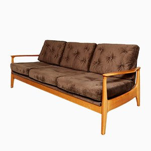 Mid-Century Cherrywood Sofabed by Eugen Schmidt for Soloform