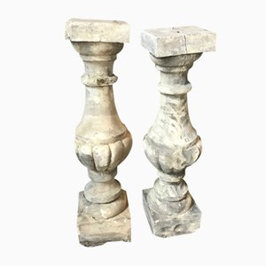 Antique Cement Balusters, Set of 2