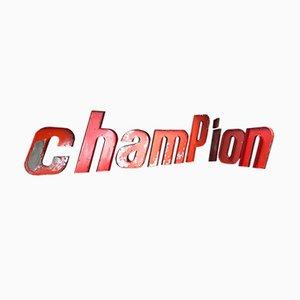 Große französische Mid-Century Champion Buchstaben aus Metall, 8er Set