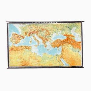 Mappa del Mar Mediterraneo vintage di Dr. Haack, Germania, anni '70