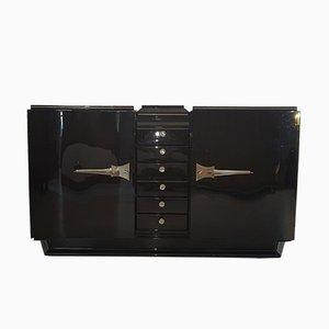Aparador Art Déco negro con puertas Serpentine, años 20