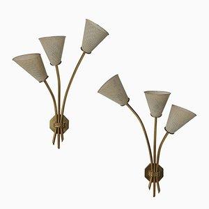 Französische Vintage Wandlampen, 1950er, 2er Set