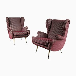Mid-Century Italian Lounge Chairs, 1950s, Set of 2