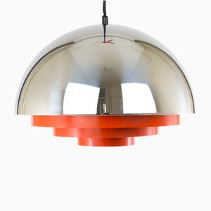 Chrome & Red Milieu Pendant by Johannes Hammerborg for Fog & Mørup, 1970s
