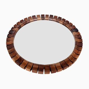 Espejo danés Mid-Century redondo de teca