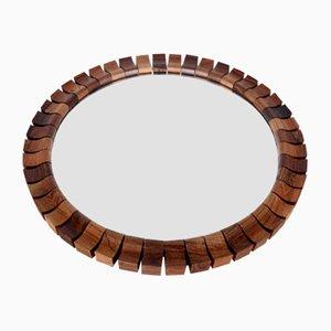 Round Mid-Century Danish Teak Mirror