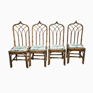 Mid-Century Modern Italian Bamboo Chairs, 1960s, Set of 4