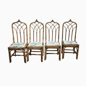 Mid-Century Modern Italian Bamboo Chairs, 1960s, Set of 4