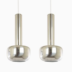 Chromed Guldpendel Pendants by Vilhelm Lauritzen for Louis Poulsen, 1960s, Set of 2