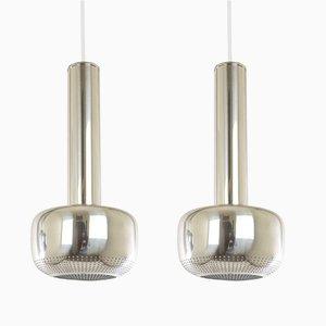 Lampes à Suspension Guldpendel Chromées par Vilhelm Lauritzen pour Louis Poulsen, 1960s, Set de 2
