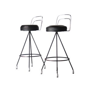 Metal Stools Lacquered in Black, 1970s, Set of 2