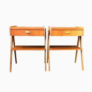 Modernist Teak & Oak Nightstands, 1960s, Set of 2