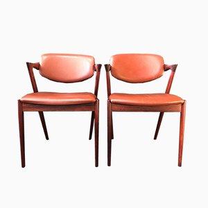 Vintage Modell 42 Armlehnstühle von Kai Kristiansen, 2er Set
