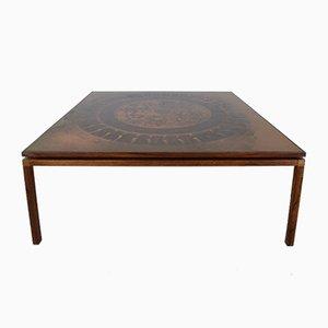 Tavolino da caffè in rame e palissandro, anni '70