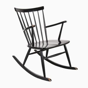 Scandinavian Black Wooden Rocking Chair, 1950s