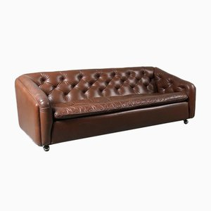 Brown Leather Sofa by Geoffrey Harcourt, 1960s