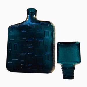 Italian Modernist Teal Blue Decanter