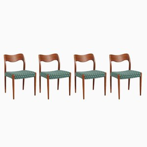 Skandinavische Esszimmerstühle aus Teak von Niels Otto Møller, 1950er, 4er Set