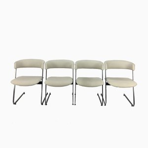 Italian Metal Dining Chairs, 1980s, Set of 4