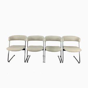 Italienische Esszimmerstühle aus Metall, 1980er, 4er Set