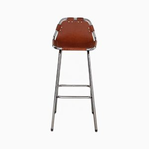 Les Arcs Leather & Metal Bar Stool by Charlotte Perriand, 1960s
