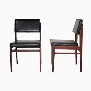 Black Faux Leather Dining Chairs from TopForm, 1950s, Set of 2