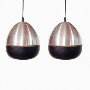 Eiförmige Hängelampe aus Aluminium von Philips, 1960er, 2er Set
