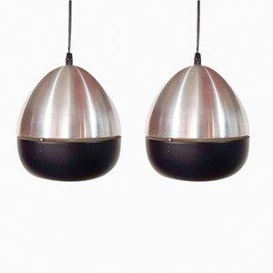 Lámparas colgantes en forma de huevo de aluminio de Philips, años 60. Juego de 2