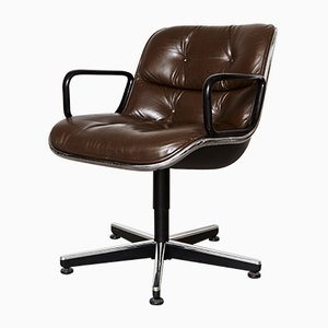 Superbe Vintage Leather Executive Swivel Chair By Charles Pollock For Knoll  International