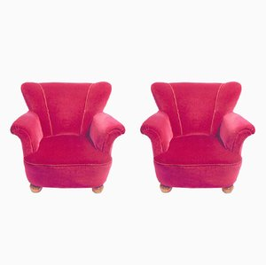 Swedish Red-Pink Velvet Lounge Chairs, 1950s, Set of 2