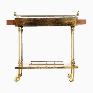 Brown Goatskin Serving Cart with Drawers by Aldo Tura, 1960s