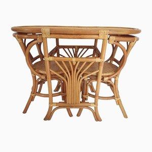 Mesa Tête a Tête vintage de ratán con 2 sillas