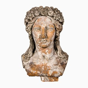 Busto de Perséfone francés en terracota, siglo XVIII