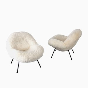 Sheepskin Lounge Chairs by Fritz Neth, 1960s, Set of 2