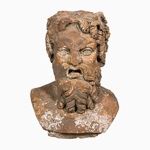 French Terracotta Bust of Bacchus, 18th Century