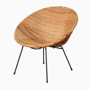 Mid-Century Cane Hoop Chair