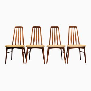 Teak Model Eva Dining Chairs by Niels Koefoed, 1960s, Set of 4