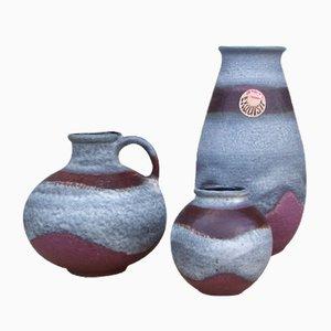 Jarrones serie Exquisite vintage de cerámica de Jasba. Juego de 3