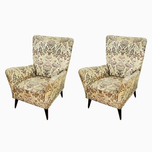 Floral Armchairs, 1940s, Set of 2